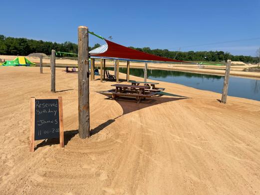 Beach Cabana rental at Lake Arvesta Farms
