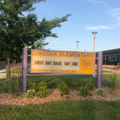 Lincoln Elementary's marquee sign was landscaped in 2019.