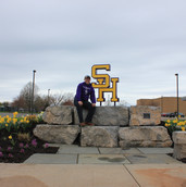 South Haven High School student Zack Emenhiser designed and fabricated the SH sculpture for the south entrance beautification project.