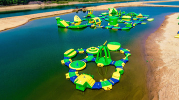 Floating obstacle course at Lake Arvesta Farms