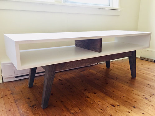 mixed wood coffee table/media bench