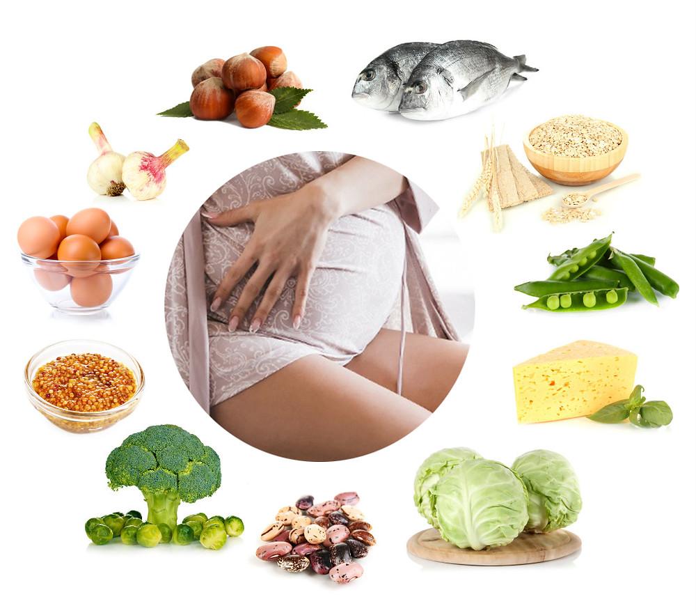 alimentos que aportan calcio durante el embarazo, verduras, pescado, huevos, coliflor, queso
