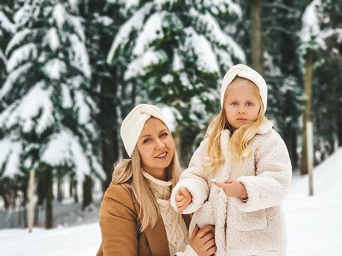 Woolanka|Turban Merino Komplet Mama/Dziecko