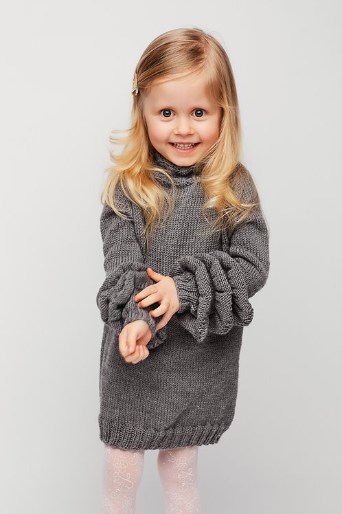 Woolanka for baby|Sukienka Little Grey