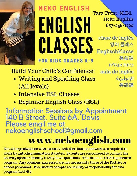 Fall 2019 English Neko English Flyer for
