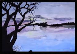 Lake scene with tree