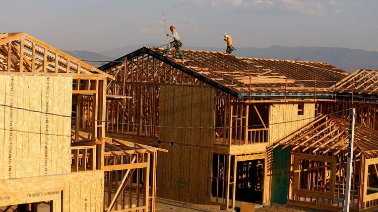 Crews work on new homes under construction in Murrieta. Home prices in the six-county region climbed 7.5% in August from a year earlier. (Glenn Koenig / Los Angeles Times)