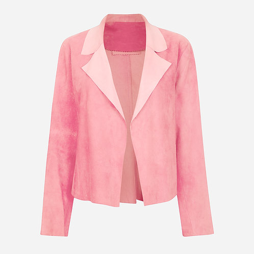 Suede Leather Classic Short Jacket - Pastel Pink