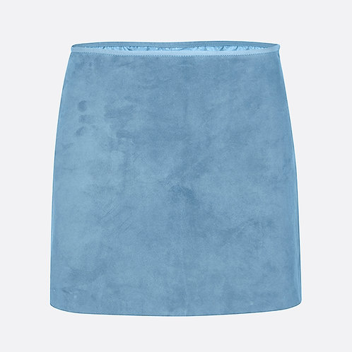 Suede Leather Mini Skirt - Pastel Blue