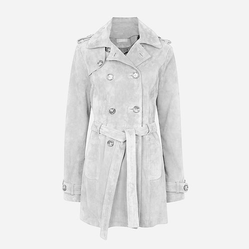 Suede Leather Short Trench Coat -Light Grey