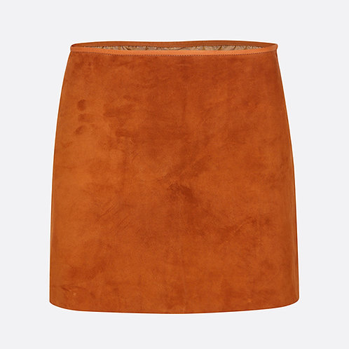 Suede Leather Mini Skirt - Honey