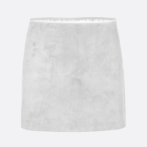 Suede Leather Mini Skirt - Light Grey