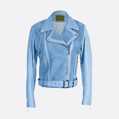Classic Combined Suede Leather Biker Jacket With Belt & Buckle - Pastel Blue