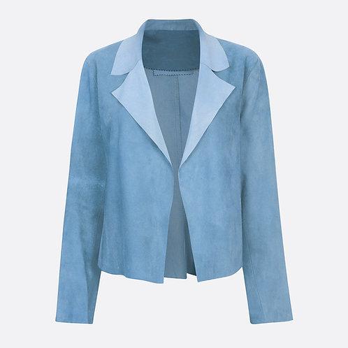 Suede Leather Classic Short Jacket - Pastel Blue