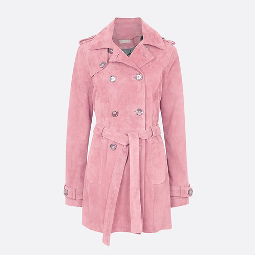 Suede Leather Short Trench Coat - Pink