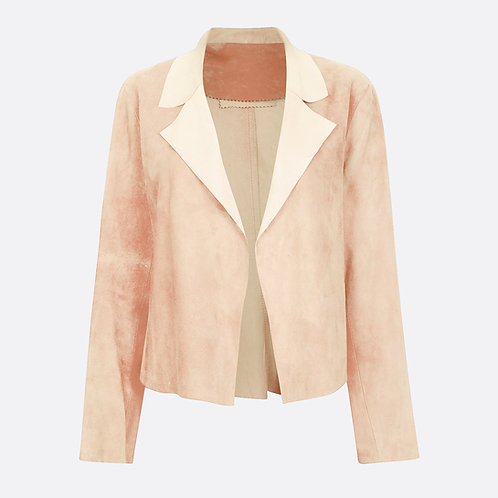 Suede Leather Classic Short Jacket -Beige