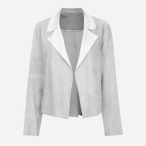 Suede Leather Classic Short Jacket - Light Grey