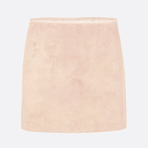 copy of Suede Leather Mini Skirt - Neutral Beige