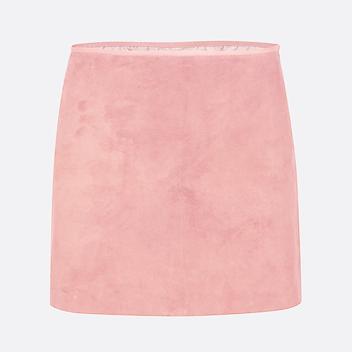 Suede Leather Mini Skirt - Pastel Pink