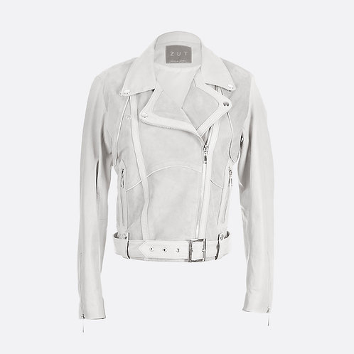 Classic Combined Suede Leather Biker Jacket With Belt & Buckle - Light Grey