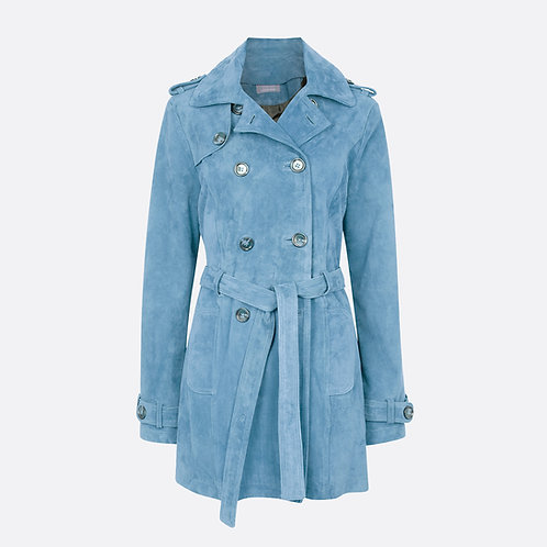 Suede Leather Short Trench Coat - Pastel Blue