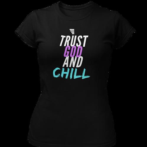 Trust God and Chill Heather Black Short-Sleeve Women's T-Shirt