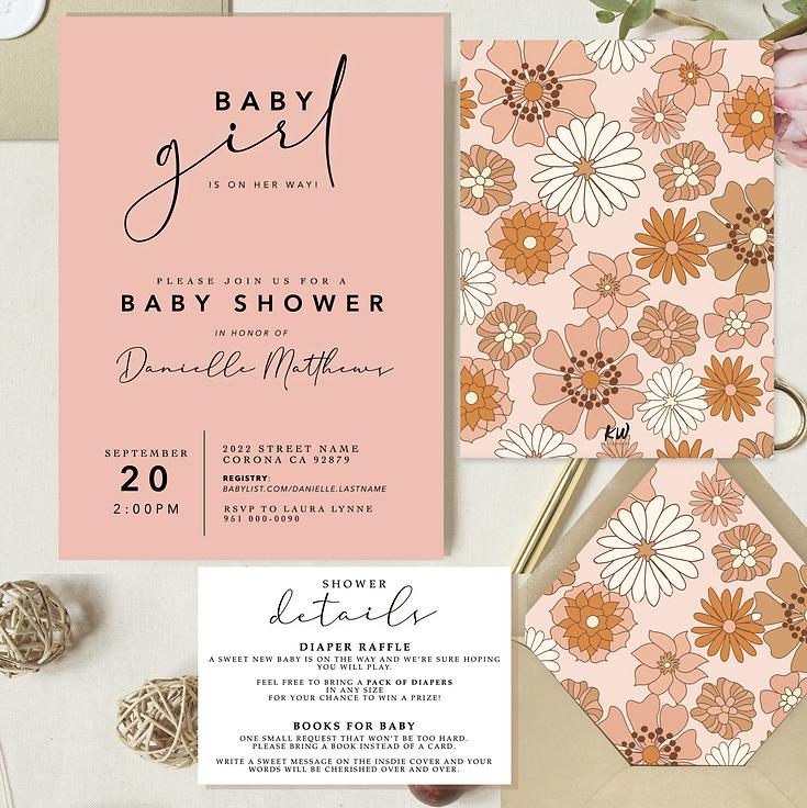 baby shower invitation, baby girl baby shower invite, flower child, dusty pink baby shower invite, dusty rose, flower invitation