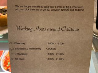 Holiday Catering and Opening Hours