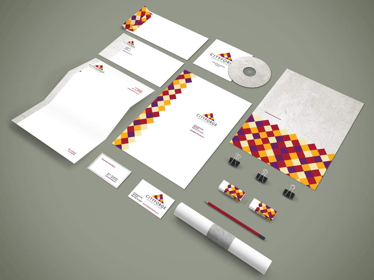 Cityforge stationery and branding collateral, including stationery, folders and business cards.