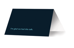 A greeting card in my personal color scheme, for mailing after interviews.