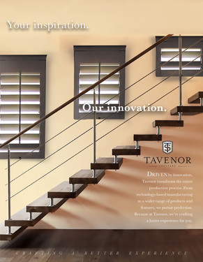 One of the ad solutions for Tavenor Shutters, featuring a staircase and shutters in custom sizes.