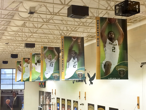 The banners I designed for the Baylor Men's Basketball team, hanging in their practice gym.