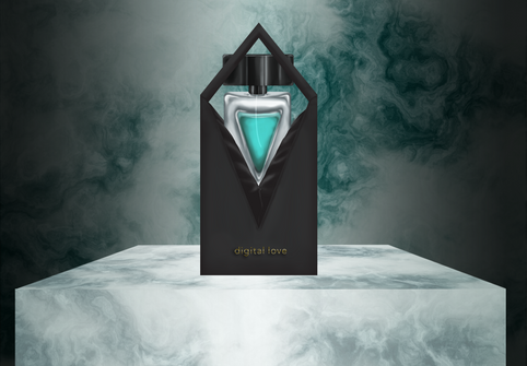 An illustrated rendering of the cologne packaging, displayed on a marble podium.