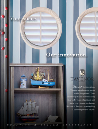One of the ad solutions for Tavenor Shutters, showing Tavenor's custom-made circular shutters.