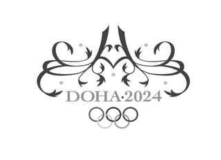 A black-and-white version of the Doha 2024 logo.