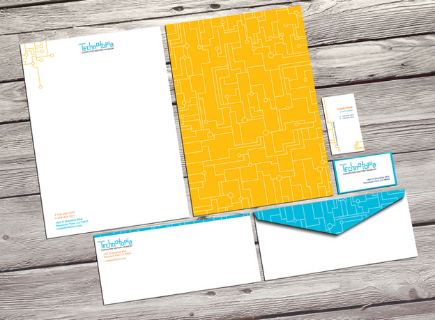 Technotopia stationery, including envelopes, business cards and letterhead.