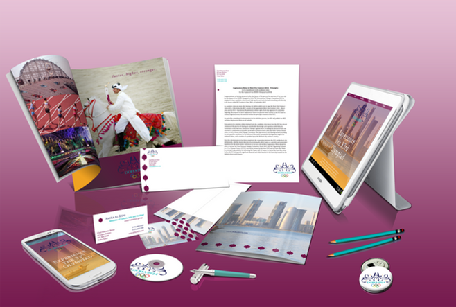 The Doha 2024 branding, including stationery, business cards, website and promotional ads.