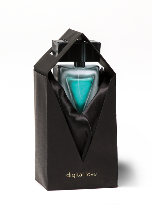 The Digital Love cologne bottle and packaging from the front.