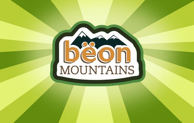 Logo for Beon Mountains Iced Tea, a fictional brand of iced tea.