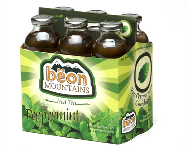 The carrier for Beon Mountains Iced Tea.