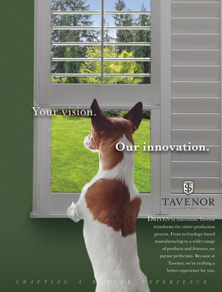 One of the ad solutions for Tavenor Shutters, featuring an unusual window treatment.