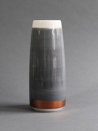 "9"" Vase : Black & White & Copper"