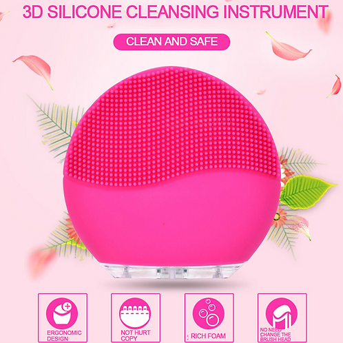 Portable Waterproof Electric Silicone Facial Cleanser, Sonic Face Cleaning