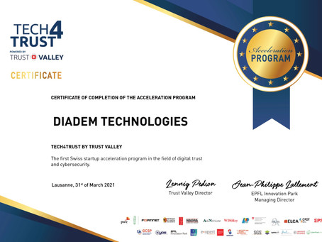 DIADEM joined the Tech4Trust Acceleration Program of the Swiss Trust Valley