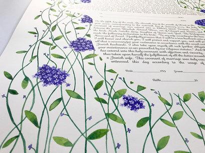 Lavender forgetmenot watercolor ketubah