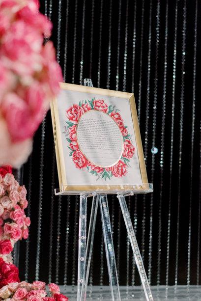 Everlasting pink flower watercolor ketubah