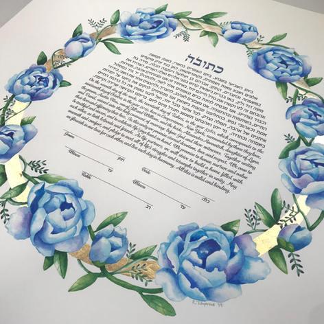 Blue peony wreath