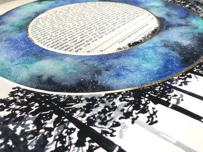 Stargazing galaxy watercolor ketubah
