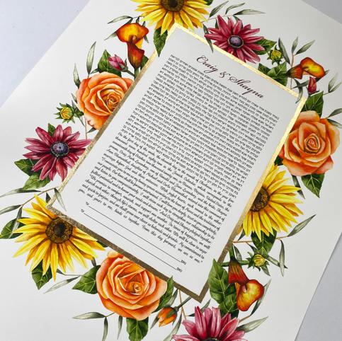 Vibrant florals ketubah