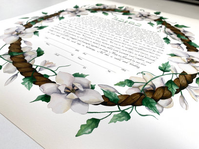 Enchanted white flower watercolor ketubah